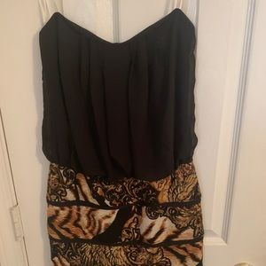 Black & Print Strapless Dress (M)